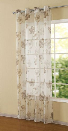 NATURAL COLOUR  READYMADE EYELET LIGHT NET VOILE CURTAIN PANEL STYLISH FLORAL DESIGN
